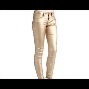 1st Kiss Shimmery Gold skinny jeans